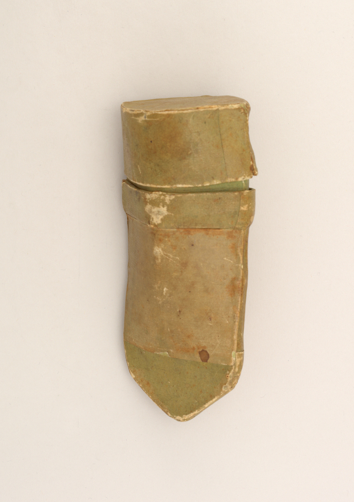 Ovoid case (a) with pointed bottom and removeable flat-topped cover (b) fitted over deep flange; all of heavy light green paper.