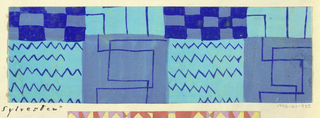 Line motif with zigzag and checkboard pattern in shades of blue.