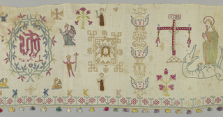 Multicolor embroidery showing St Catherine, St Barbara, the Cross, the face of Christ, the sacred monogram, the symbols of the Evangelists, and the figures of monks and nuns. With the exception of individual details the design is symmetrical on a vertical axis. Pattern is divided into three compartments by four vertical bands of embroidery; two of a scrolling vine, two of the faces of cherubs. The bottom and sides of the cloth are trimmed with a five-strand braid of yellow silk to which tassels of colored silk are attached every two inches.