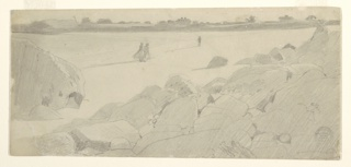 Horizontal view of beach and rocks, with two figures of women and a man walking; houses in the distance.
