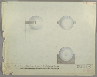Drawing, Drawer Pull: Aluminum Ball, Oxodized Metal, early 20th century