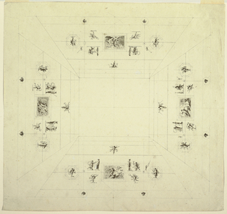 Four sides of vaulted ceiling indicated by four trapezoidal shapes. In center of each is small rectangular composition with god in chariot: on long sides, Venus in dove-drawn chariot and Poseidon in horse-drawn chariot; on short sides, Diana in stag-drawn chariot and Apollo in horse-drawn chariot. Surrounding these compositions, pairs of decorative motifs: female figures with herms, winged genii, dancing genii, and octagons with dancing female figures, and masks in circles.
