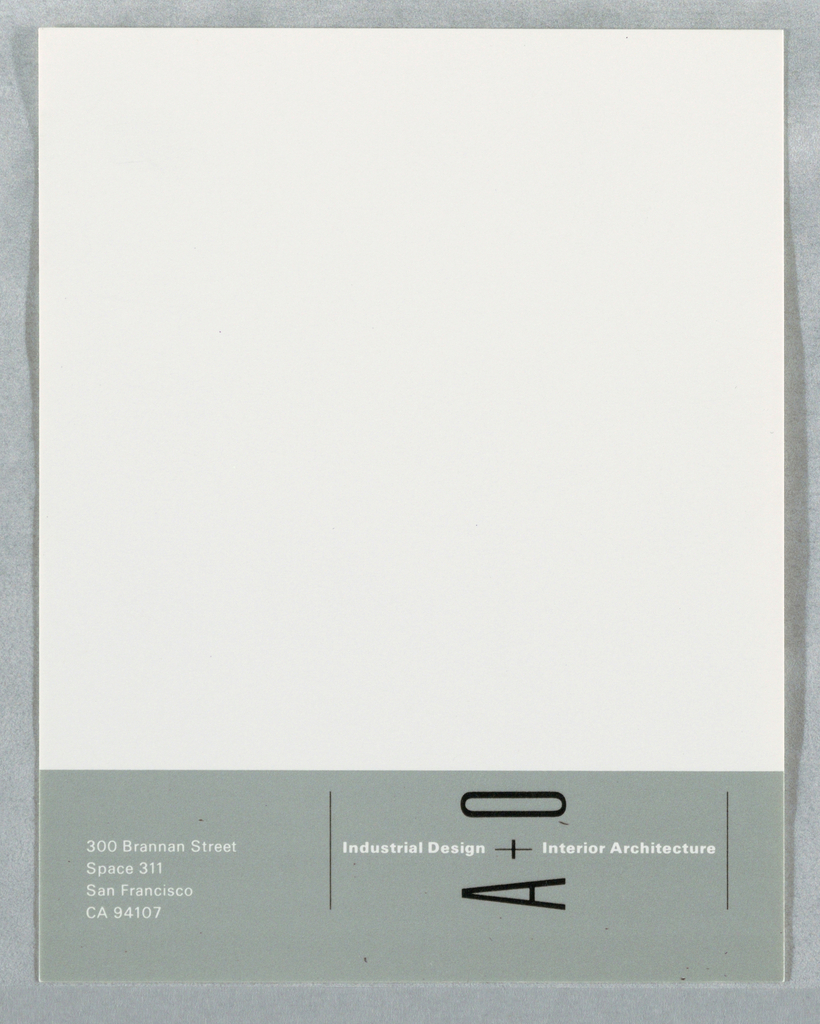 Adhesive label with light green rectangle at left edge; with text in black and white: Industrial Design A + O Interior Architecture.