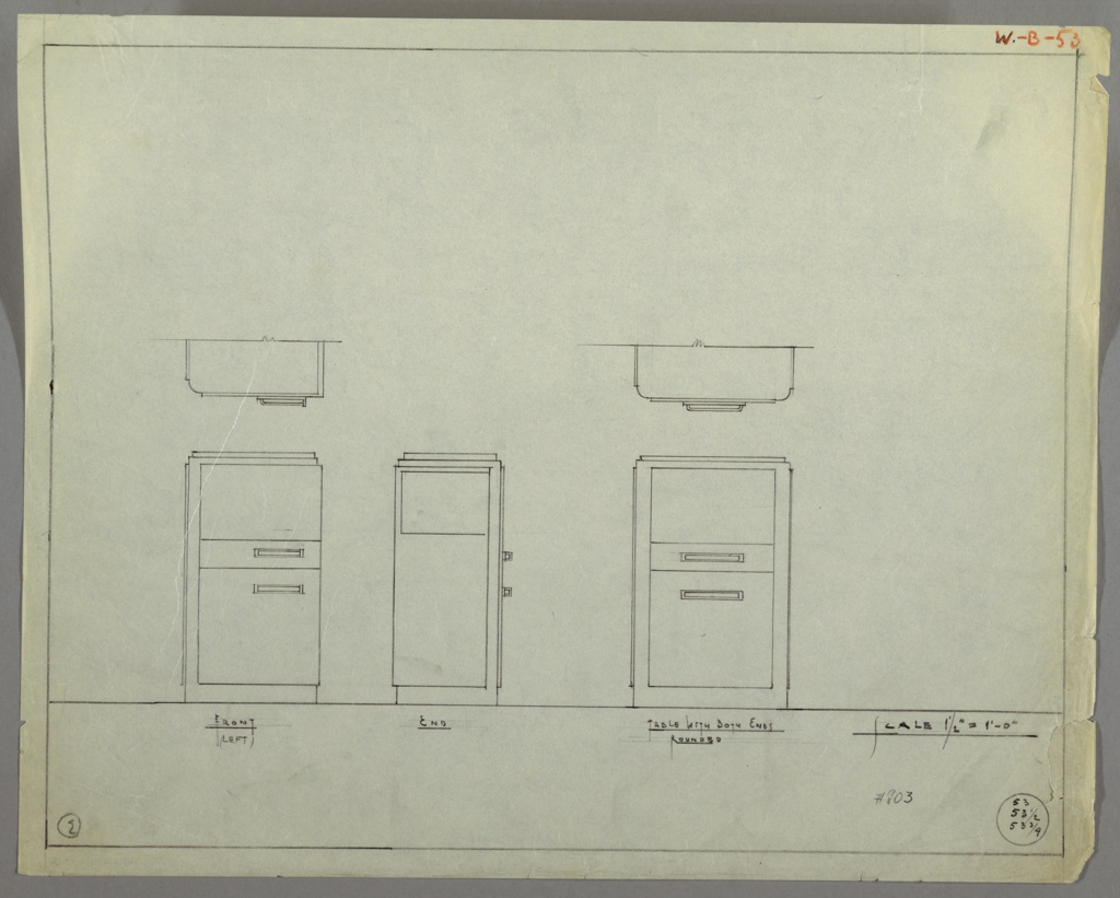 Elevation and plans for two versions of an end table. On the left is table with open shelf at top and two drawers below. Drawer on top is smaller than below; rectilinear pulls positioned towards the right. Left side of table has rounded edge.Table on the right has rounded edge on left and right sides. Open shelf at top, two drawers below. Drawer on top is smaller than below; rectilinear pulls positioned at center of drawers.