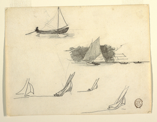 Horizontal view of six studies of sailboats, with the most finished one, at right center, showing the sailboat and two row boats against a rocky coast.