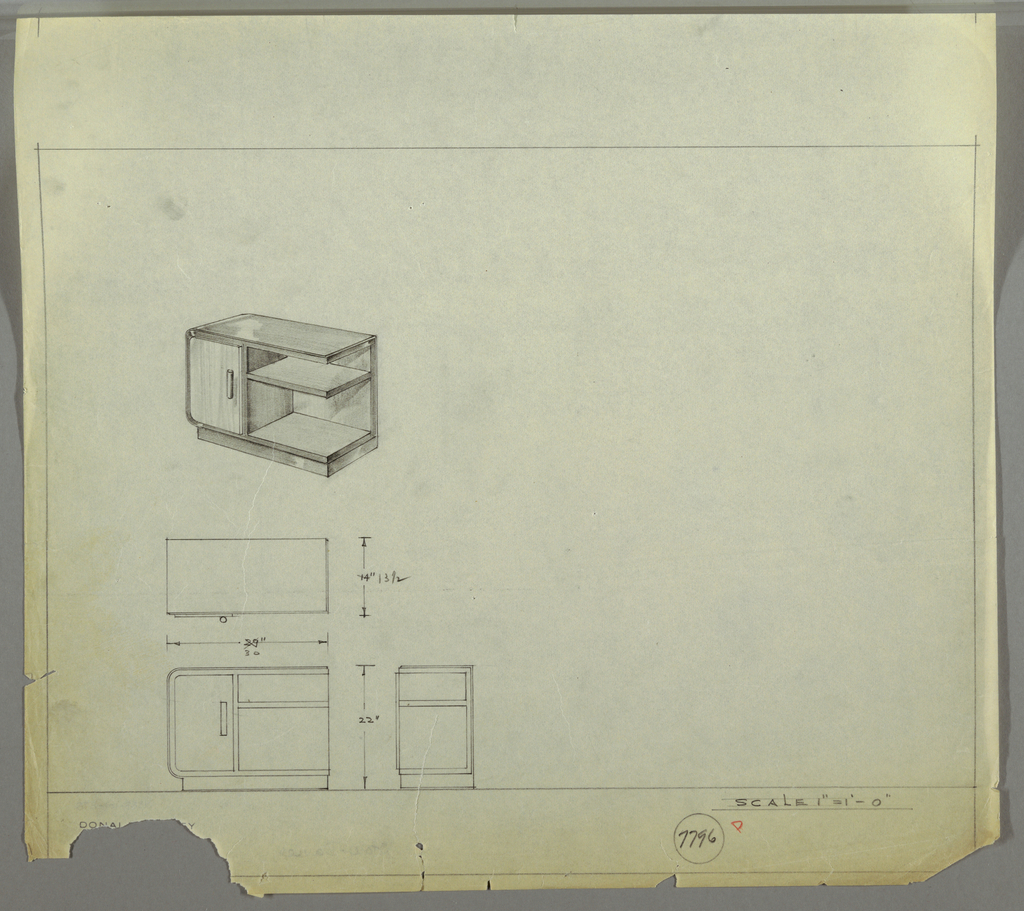 Design for end table with shelf and cabinet. At center left, perspective shows case piece on rectangular base with sideways U-shape supporting cabinet at left and shelf/open storage at right (right side open). Cabinet and shelves in light-colored wood, remainder of object (possibly) in lacquered material. Cabinet accessted by vertical cylindrical pull. Shelf at left at about two-thirds height. Below, plan, front elevation, and side elevation with dimensions. Inscribed with Deskey No. 7796.