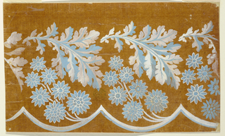 Flower boughs rise from a waved white and blue rubbon. An oak leaf, the top of which hangs downwards, is a part of a garland, on top. Somewhat less t han three repeats are shown.
