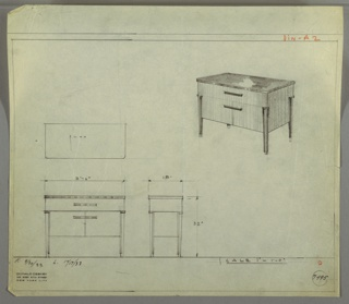 Perspective, plan, and elevation drawing for small sideboard. Large rectangular body supported by four low, squared and tapered legs. One drawer the length of the sideboard below top; two cabinets below drawer.