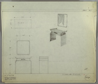 Perspective, plan and elevations for vanity and mirror. Rectangular mirror with rounded edges above a small vanity with upturned tray on surface, drawer below, and curved legs.