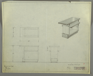 """Design for end table with shelf. At upper right, perspective shows rectangular tabletop supported by U-shape planes in contrasting material set asymmetrically onto L-shaped base in same material as top, which cantilevers at left. Single shelf at two-thirds height; both top and shelf are deeper than U-shaped frame. Inscribed with Deskey No. 7318 and """"BL.-S.-W. / 9/1/33"""" at lower left."""