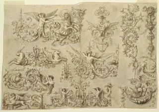 Drawing, Panel of Ornament with Grotesque Heads