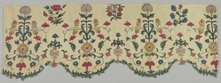 Cream-colored linen, chain stitch embroidered in multicolor wools. Symmetrical pattern of stiff flower sprays, alternating with small sprays; scalloped edge embroidered in vine pattern in blue and green.