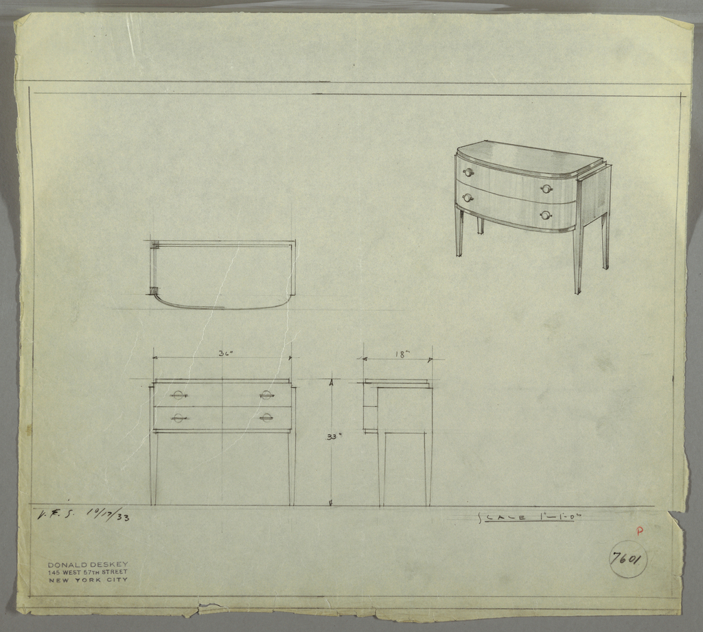"""Design for sideboard. At upper right, perspective drawing shows oblong case piece with rounded front. Top, lower trim, sides and legs in darker material (perhaps Bakelite, lacquer, or Brazilian rosewood) with drawers in lighter, vertically striated wood. Two stacked drawers accessed by spherical pulls set into horizontal mounts. At lower left, plan, front and side elevations shown. Inscribed with Deskey No. 7601 and """"V. & S. 10/17/33""""."""