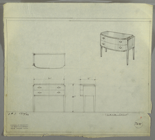 "Design for sideboard. At upper right, perspective drawing shows oblong case piece with rounded front. Top, lower trim, sides and legs in darker material (perhaps Bakelite, lacquer, or Brazilian rosewood) with drawers in lighter, vertically striated wood. Two stacked drawers accessed by spherical pulls set into horizontal mounts. At lower left, plan, front and side elevations shown. Inscribed with Deskey No. 7601 and ""V. & S. 10/17/33""."