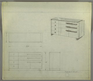 Design for sideboard. At upper right, perspective describes rectilinear case piece with stack of four drawers with spherical knobs at left and cabinet below two long, horizontal drawers at right, all accessed by horizontal pulls. Left side is supported by foot that appears to be continuation of side and top, while right side is supported by perpendicular rectangular foot; left planes seem to wrap drawer/cabinet volume. At lower left, plan, front and side elevations.