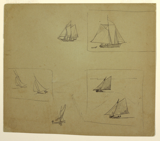 Horizontal view of three rectangle, enclosing a single schooner, and two pairs of yawls; also containing two other sketches of sailing craft.