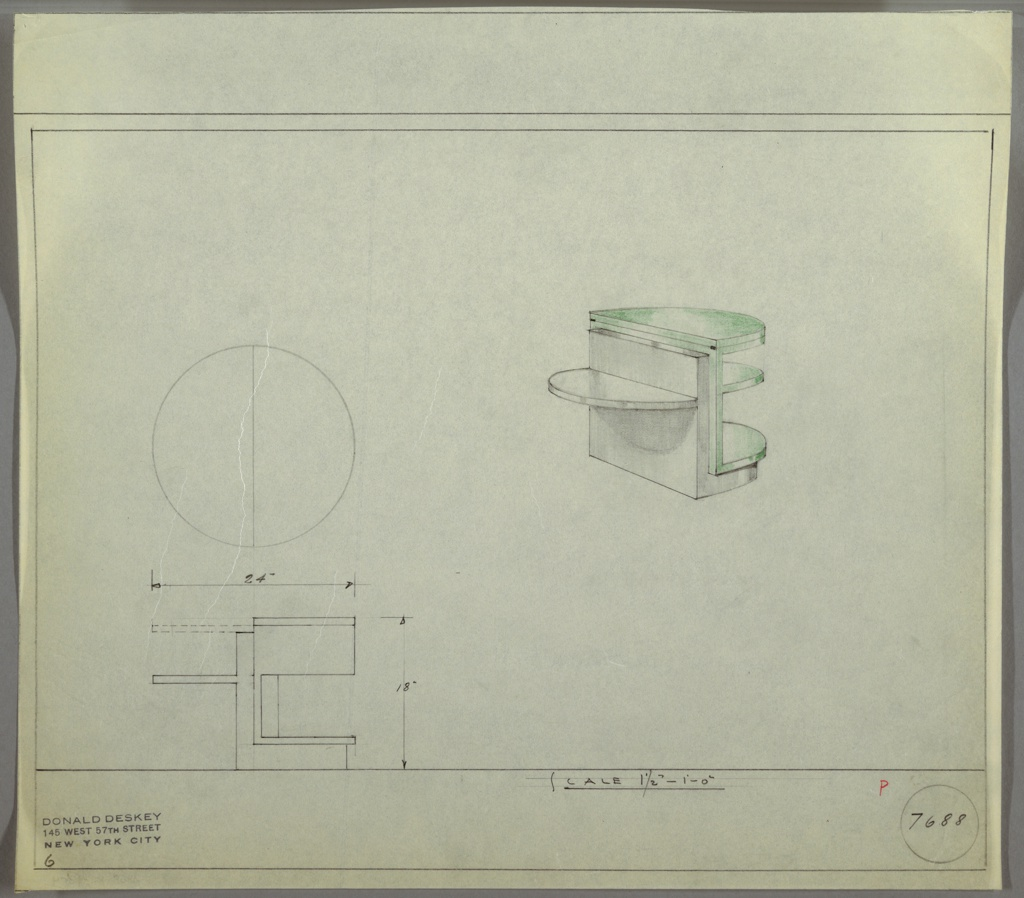 Perspective drawing for end table in upper right, plan and elevation in lower left. Demi-lune shape on right side of table in glass, with three shelves supported by wooden base. Left side of table is wood with one demi-lune shelf projecting out. Top glass shelf on right side has hinges to allow for half of surface to turn to left side for greater amount of space