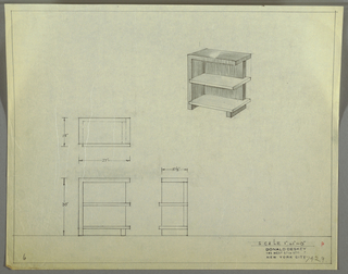 Design for end table with shelves. At upper right, perspective shows rectilinear object supported by plane at left and rectangular foot at right (this side open). Sides, top, foot, and back in one material with lower and middle shelves in another, lighter one. At left, plan, front elevation, and side elevation with dimensions. Inscribed with Deskey No. 7429.