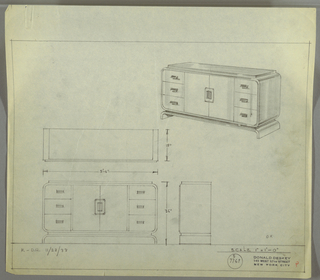 "Design for sideboard. At upper right, perspective shows rectangular case piece with rounded corners resting on inverted U-shaped base; in between, a plane of material similar to that of top surface (possibly Bakelite or lacquer) and of slightly smaller plan that overall object. On either side, three stacked drawers accessible by cascading pulls; at center, pair of cabinet doors with the same pulls, vertically oriented, set inside incised rectangle with rounded corners. At lower left, plan and front and side elevations with dimensions. Inscribed with ""K-D.R. 11/28/33"" and Deskey No. S 7769."