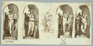 Study of four statues in niches: music, architecture, painting and sculpture. Study of Bacchus with Hermes.