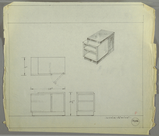 Design for end table. At upper right, perspective shows rectangular object with asymmetrical, planar frame into the front of which is set a smaller volume in a lighter material with two open shelves. At rear, cabinet door swings open to reveal cabinet, accessed by vertical pull in plane with the inset cube. At left and below are plan, front, and side views. Inscribed with Deskey No. 8206.