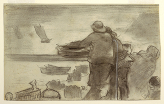 Horizontal view of two men in oilskins in foreground; beach with boats drawn up on it, and groups of peope in middleground; and on the water in the distance are two sailboats.