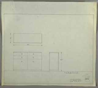 Design for sideboard. At lower left, front elevation shows rectangular object with two pairs of shallow drawers above and cabinet below; drawing indicates either circular knobs or uses circled +'s to indicate placement of hardware. Top and base are slightly narrower than drawer width; at lower right, side view indicates that they are one continuous piece into which drawers are set. Above, plan with dimensions. Inscribed with Deskey No. 8354.