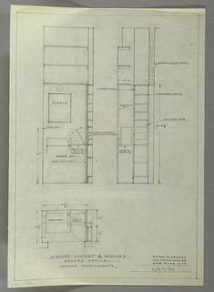 Design for liquor cabinet and shelves for the Donald Deskey office. At lower left, plan with dimensions indicates sink and shelves contained within a niche in wall; at right, dashed line indicates that shelving unit pivots between open and closed positions. At upper left, wall elevation shows three shelves above light fixture over a rectangular mirror which itself is hung over a lavatory (sink) in between which a towel bar hangs at left. At right of lavatory, folding panel shown between open and closed positions: when open, it rests on the lavatory to become a shelf, and when closed it conceals additional shelf space. To the right, pivoting shelf shown in open position with shelves perpendicular to lavatory. At upper right, elevation of door when open shows use of SOSS hinges at pivot point, as well as inclusion of cylinder lock. Inscriptions indicate shelving for stationary and provides further information about arrangement of storage spaces relative to lavatory.