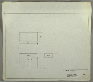 Design for cabinet in maple. At lower left, elevation shows shelf above, open at front and right side, and cabinet with asymmetrical doors below. Circled +'s used to indicate placement of hardware. Base is continuation of top and left surface. Above, plan view; at lower center; side elevation. Inscribed with Deskey No. 8355.