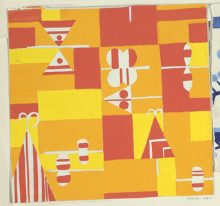 Geometric pattern of blocks and triangles in red-orange, orange, yellow, and white.