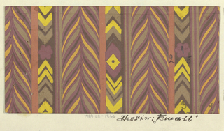 Partial view of pattern design with vertical herringbone feathered forms in purple, black, gray, and yellow separated by thinner vertical bars with chevrons and other geometric ornament.