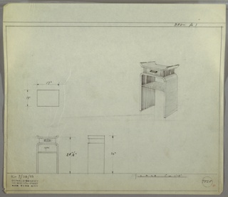Perspective drawing for night table in upper right, plan and elevation in lower left. Top of table has curved side edges, creating tray. One drawer below top with rectangular, horizontal pull. Base below drawer is one single piece of plank wood (?) bent to create flat top with open shelf below drawer.
