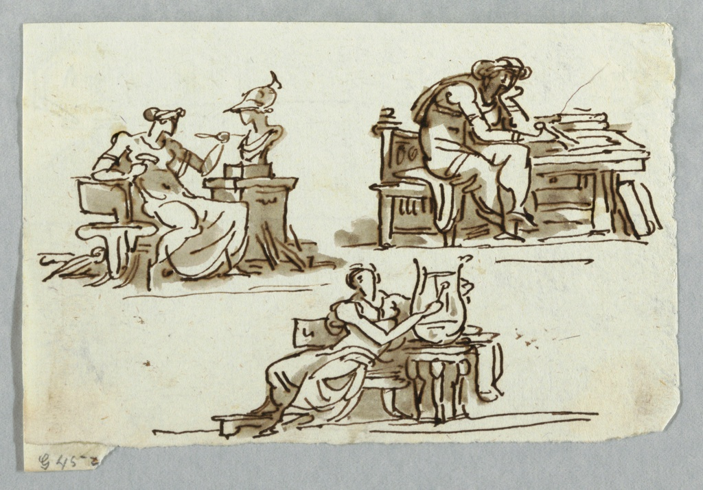Top left, a woman sculpts a bust of Minerva. At right, a woman measures with a compass. Below, a seated woman plays a lyre.