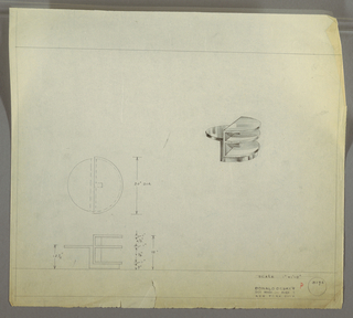 Design for low, round occasional table with shelves seen in plan, elevation and perspective. At right, perspective shows asymmetrical occasional table: at left, demilune tabletop cantilevers out from vertical support that angles at bottom to create secondary demilune base. Set onto this base is a secondary unit comprised of three demilune shelves supported by a rectilinear post at center. At center left, plan indicates object footprint while below elevation provides details additional details about object silhouette and dimensions. Margins ruled in graphite. Inscribed with Deskey No. 8196.