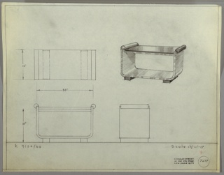 Perspective, plan and elevation of coffee table. Rectangular top of glass or Bakelite supported by lacquered or wooden base. Two tubular handles/supports at each end of table connect top to frame. Frame constructed of single plank piece of rectangular wood, bent to form structure of base. Two squat, rectangular wooden bases are feet of table.
