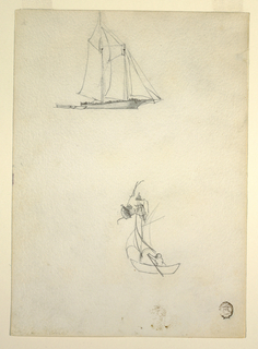 Vertical view showing at the top a schooner under sail and three dinghies and at the bottom a boat being rowed by a man and sails (?).  Horizontally at center of drawing is the upper portion of a woman leaning over a parapet.