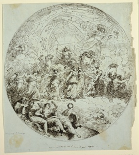 Apollo stands in chariot, driven by four horses, holding whip in right hand. Behind him, zodiac.  Accompanying him, flying personification of Day and Horae dancing around. Beside them, at right, two women, one raising dish with both arms, other supporting two torches. Beside them, at left, Winter and young man sitting. Autumn with vine wreath and goblet and two women, personifications of Summer and Spring. At right, two flying putti, one with arrow and whip, other with bow. Inscription: Carro del sole con le ore e le quatro stagioni.