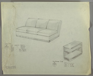 Drawing, Sofa and Endtable, 1934–1935