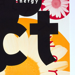 """Promotional poster for """"Fact TwentyTwo"""", album from Emigre Music. Intersecting circles in pink, black and yellow in various diameters throughout poster with either simple text or photo of daisy superimposed.  At top, large partial pink circle with superimposed photo of daisy at upper left overlap with small blank black circle and large yellow circle with image of daisy. Small black circle overlaps smaller black circle with """"Energy"""" imprinted in white.  At center """"Fact/Twenty/Two"""" imprinted in black. Around title, title repeated in pink and all other text repeated in yellow, in circle formation. Yellow circle outlined in pink with """"cd"""" imprinted in pink at lower right.  """"Energy"""" in upper right, """"Work"""" in upper middle at left; """"Power"""" in lower left. Design plays on circle motif as well as layering.  Black is top layer while yellow and pink are equal.  Emigre logo, pink slanted ellipse with """"EMIGRE"""" in white, at lower left corner."""