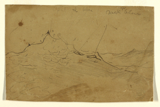 Horizontal sketch of combers in a stormy sea, with manuscript color notations.