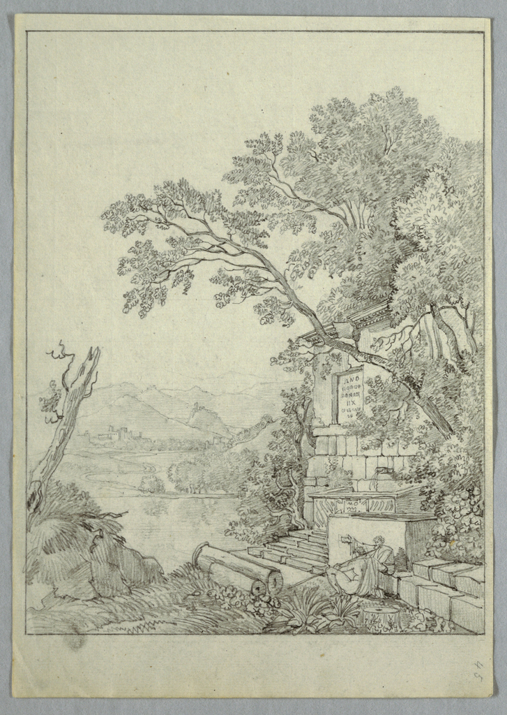 At lower right, two classical figures sit beneath ruins and a large tree. Mountains and village seen in the distance.