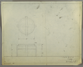 Design for low, round occasional table seen in plan and elevation. At center left, plan indicates circular tabletop (probably in glass) set into ring and supported by four legs formed by two crossed lengths, probably bentwood. Below, elevation shows shelf below tabletop at approximately two-thirds object height. Margins ruled in graphite. Inscribed with Deskey No. 8187.