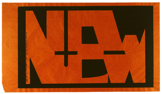 "Black silkscreen print onto brown butcher paper. Abstracted, interlocking letterforms spell out ""NEW"", reversed out of a black field. Inscription runs vertically at left margin. At left edge: ""New Works by HERBERT HOOVER c@ll for an appointment (212) 643-0096""."