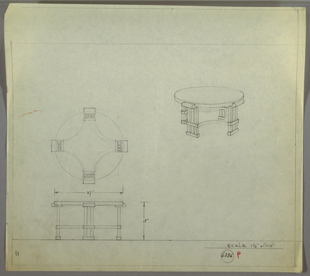 Perspective, plan, and elevation drawing for low, round coffee/end table. Surface of table supported by four legs; legs are three vertical squared tubes, with two bands at bottom and rounded capital at top. Curved stretcher joins legs at center.