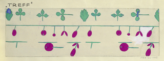 On white ground, partial view of pattern design with a row of green clovers and leaves at top and purple flowers attached to stems and vines.