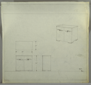 """Design for cabinet. At upper right, perspective shows rectangular case piece with two drawers above and cabinet with two doors below. Pulls are rectangular with alternative curved edges; each drawer pull is stacked atop cabinet pull and features vertical striations where they overlap. Object stands on four squat square bun feet. At lower left, plan, front elevation, and side elevations with dimensions. Inscribed in graphite at lower right: """"OK"""" and initial """"D"""" (presumably for Deskey) or """"P,"""" which would probably indicate desire for perspective drawing."""