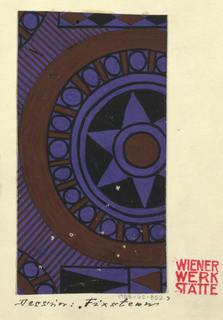 Roundels with starbursts and other geometric shapes in purple, brown, and black.
