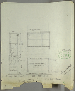 Design for radio cabinet in white blisterproof Formica and dark-stained walnut with speaker cover in silk. At lower left, front elevation shows rectangular cabinet sheathed in white Formica with rectilinear walnut base. Circular speaker aperture covered in silk. Top surface in plane with base; at right, a thin door provides access to radio equipment by means of concealed pin hinges. Above, plan view. At center, above and below, side elevations show carcass and internal divisions of cabinet. Notes inscribed throughout and at bottom, which is torn.