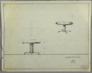 Perspective, plan, and elevation drawing for round end table. Reflective circular top probably Bakelite or lacquer; tubular pedestal probably metal. Four tubular metal legs protruding from pedestal horizontally.