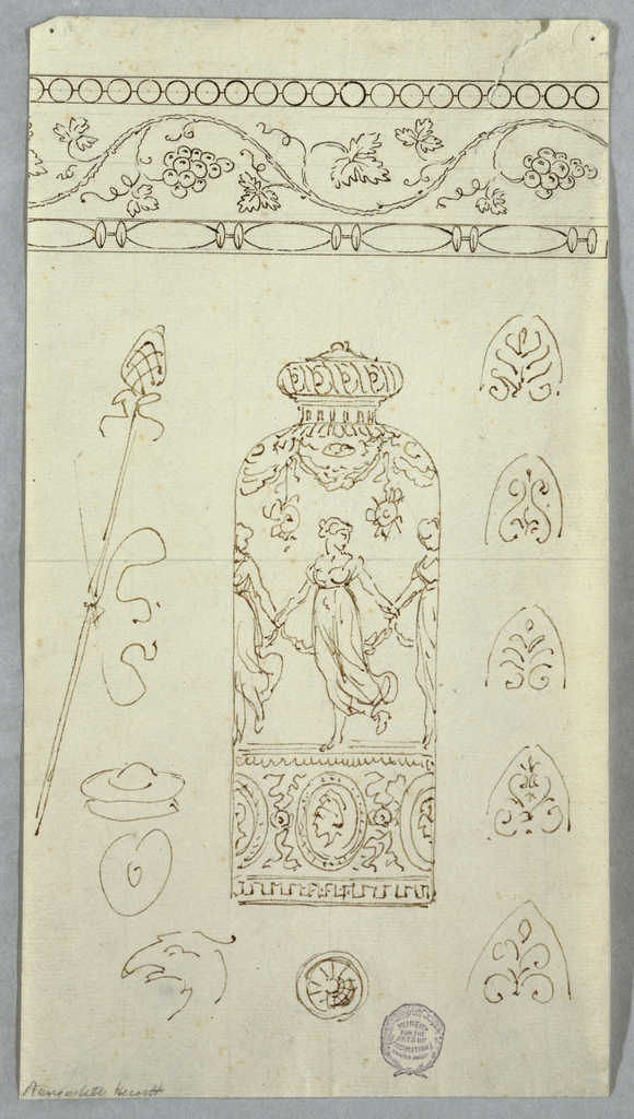At top, a horizontal frieze with grapevine design. At center, elevation of a vase with dancing women. Surrounding sketches.